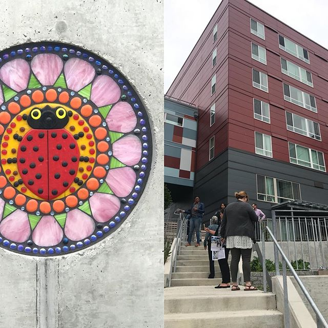 "Touring Yesler Terrace as part of an ""arts in housing"" project I'm involved with - a partnership with ArtPlace and NeighborWorks America. Inspiring! #affordablehousing #communityart #placemaking #artsculturehousing"