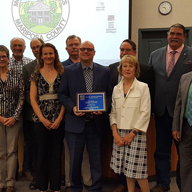 Congrats to our team and Mariposa County for their recognition by the APA California Central Section! They were presented with the 2018 Excellence and Achievement in Planning award for the Mariposa County General Plan Strategic Implementation Work Plan.  The award was in the Best Practices category! #greatplanning #generalplans #planning