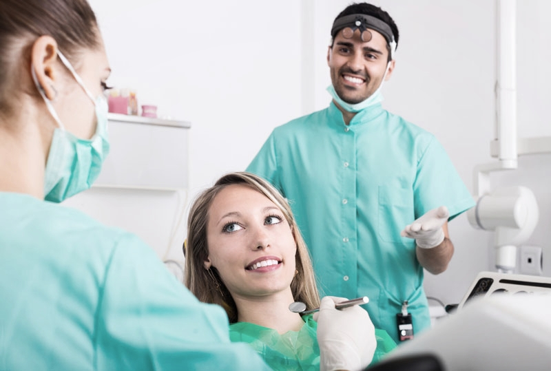 Young woman at preventative dental check-up