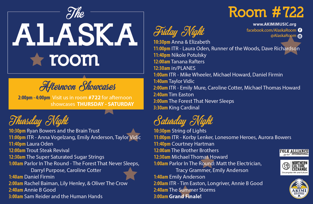 2018 Alaska Room Evening Showcase Schedule