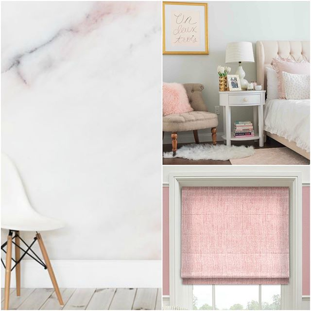 Spring trend alert! Pops of pastel pink is all the rage this season. Marble style wallpaper, pink window treatments, and a perfectly tufted upholstered headboard are all you need to keep up with this trend.(212) 794-0085