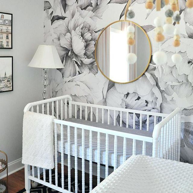 Floral wallpaper serves as the perfect whimsical accent wall in this nursery. Prestige Home Interiors offers a unique experience in shopping for Wallpaper and Wall-coverings. Visit our showroom and receive 10% off of your home decorating project. (212) 794-0085