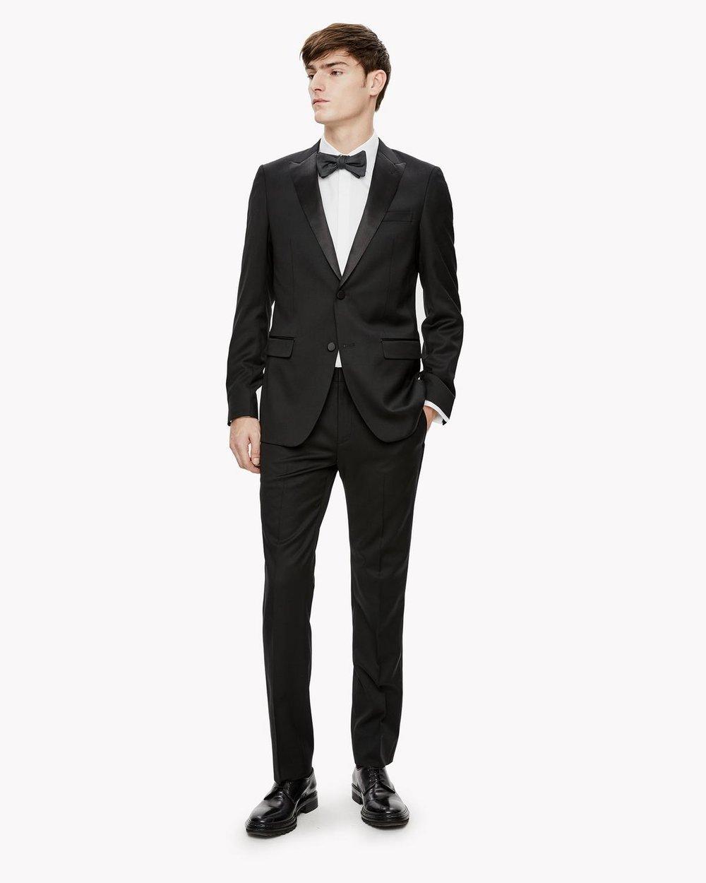 Wool Wellar Tuxedo Blazer + Wool Tuxedo Pant, $980,  Theory