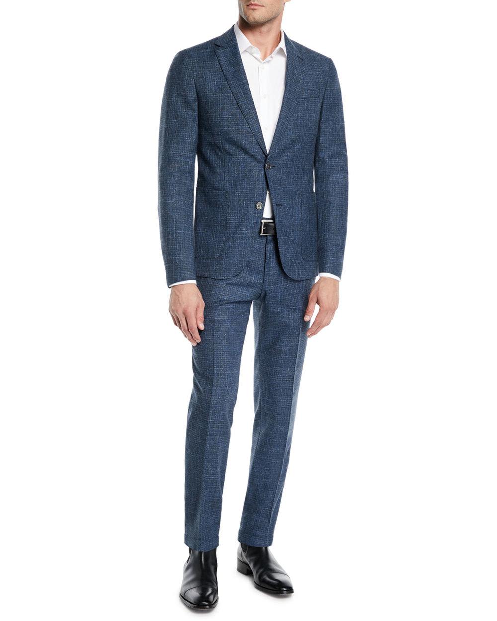 Men's Micro-Weave Wool/Cotton Suit, $895, BOSS Hugo Boss,  Neiman Marcus