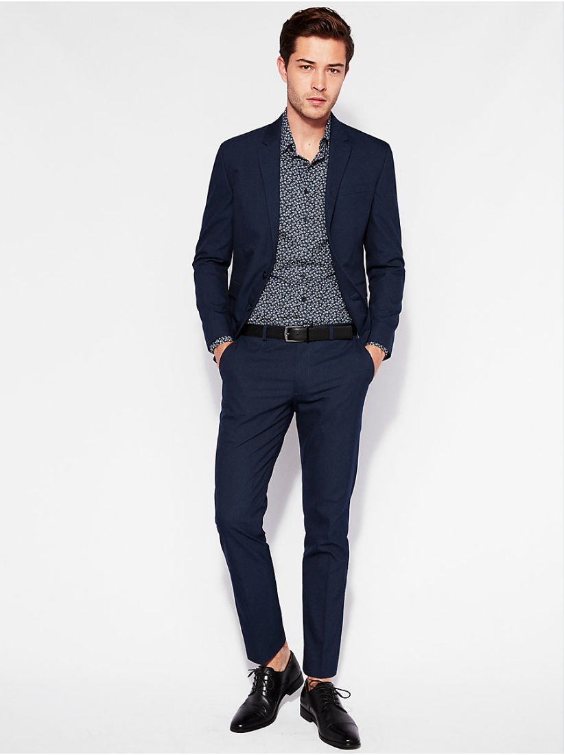 Extra Slim Cotten Blend Suit Jacket and Pant, $326,  Express