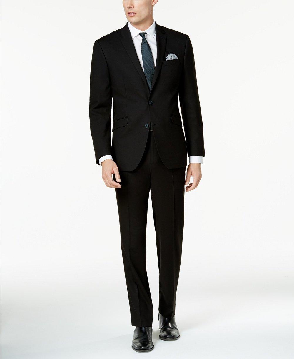 Men's Techni-Cole Solid Black Slim-Fit Suit, $395, Kenneth Cole Reaction,  Macy's