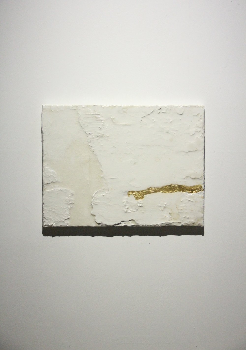 BEN LOONG 龙凯祥 b. 1988, Dyke 堤, 2018, Resinated drywall plaster and gold leaf on linen 树脂、石膏、金箔、麻布表面, 46 x 60 cm.JPG