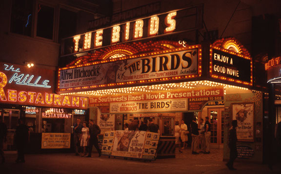 The original Plaza Theater marquee is shown on April 20, 1963. The image is from a 35mm Ektachrome slide taken by film historian, Jay Duncan. Even then, he was cutting his teeth on FILM and historic movie palaces.  Little did he realize that a decade later, he would become instrumental in saving the historic 1930 atmospheric theater, and the many other efforts included in years past.