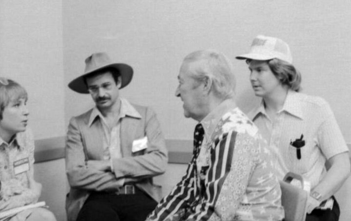 "Me (far right) and my Pal George from the Summer of 1975. Even in black and white, I still can see his red, white and blue shirt in conjunction with a ""sneak peek"" of clips from ""Doc Savage: The Man of Bronze."" It was a memorable experience, and a personal pleasure in presenting my 16mm Mint TECHNICOLOR print of producer George Pal's 1950 classic: ""Destination Moon"" to a wildly enthusiastic audience."