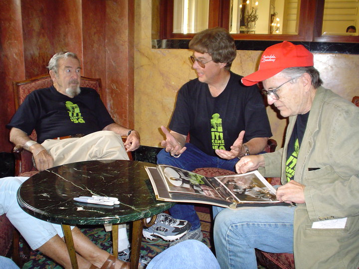 "The late Robert Nichols (""The Thing From Another World"" and ""This Island Earth"") and Jay Duncan talk film while Billy Gray (""The Day The Earth Stood Still"") looks over some of Jay's collection during the 2nd annual   ""IT! Came From The '50s""   Film Festival. (Sunday, May 29, 2005)."