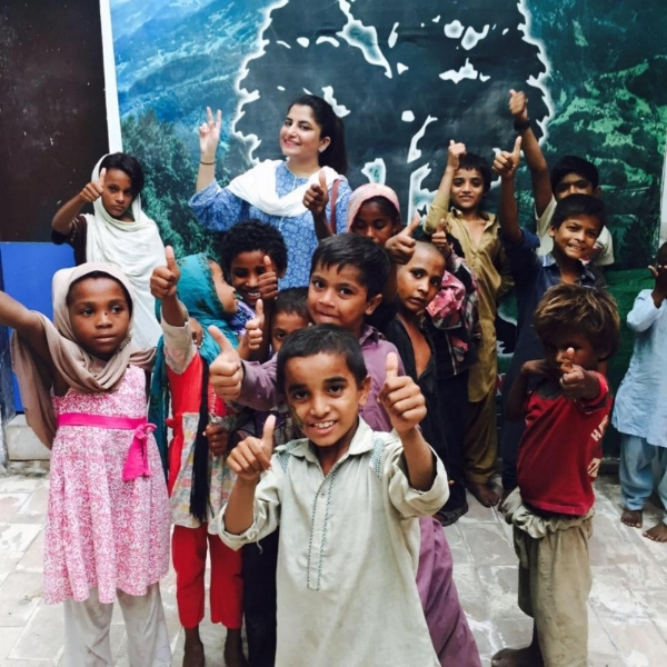 """Anum with her students from """"Street to School"""" project"""
