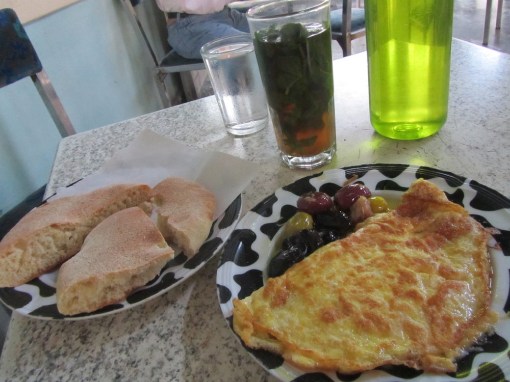 Bus station omelette (delish!) in Morocco