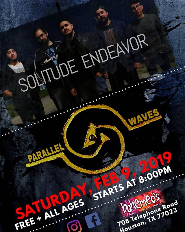 2-9-18 @bohemeos  @solitudeendeavor @parallelwaveshtx  #solitudeendeavor #alternative #rock #parallelwaves
