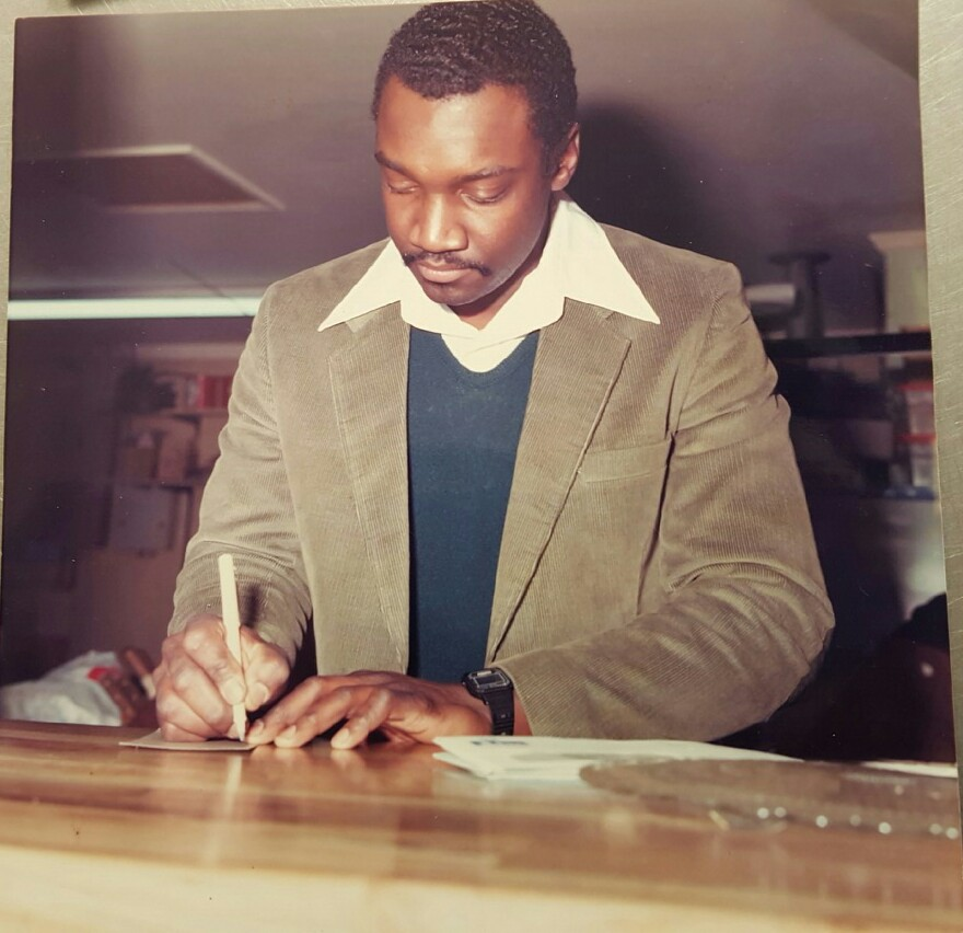 February 21, 1987 owner Daa'ood Amin taking customer orders. Salaam Seafood was only in business 8 months and fish salads were $2.10!!!
