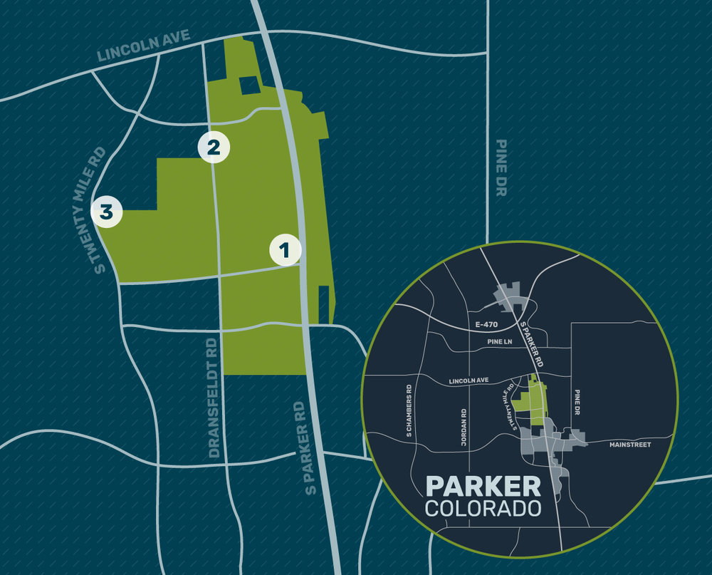 CATALYST AREAS - 1. Parker Road Corridor2. North Dransfeldt Road3. Twenty Mile Road