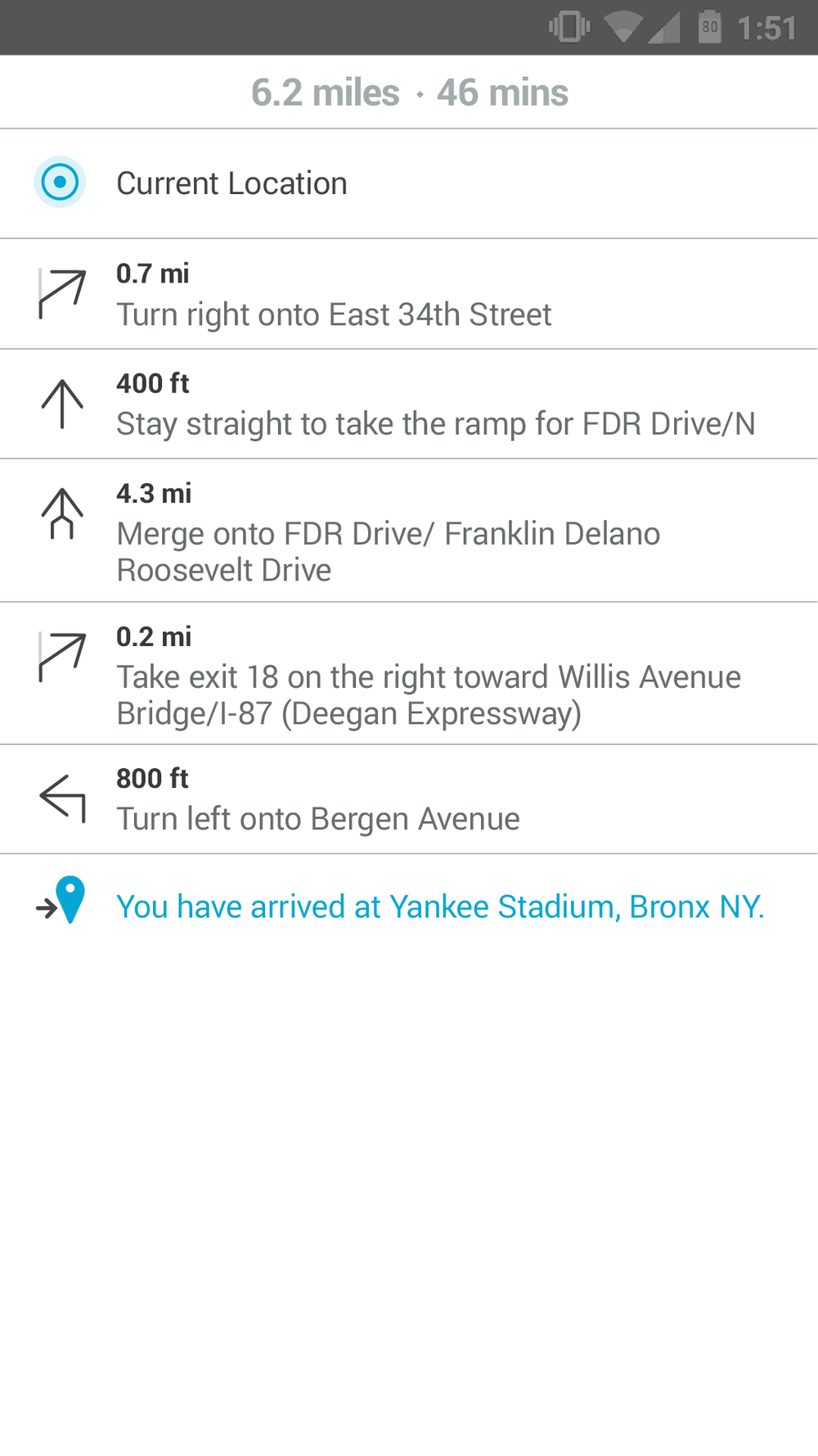 Turn-by-turn navigation - list view