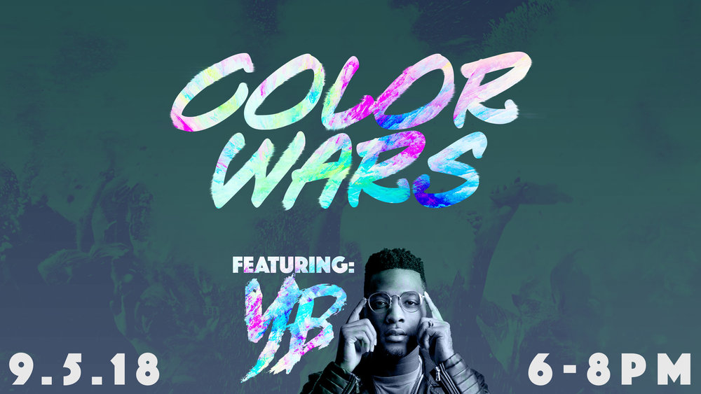 Join our middle and high schoolers for a night of music, food, and all-out fun. Hip-hop artist YB (Brandon Farris) will be with us sharing his music and story. Afterward, we will head outside to splash color all over each other and enjoy some Chick-fil-A.  Check out some of YB's music on  his YouTube page.
