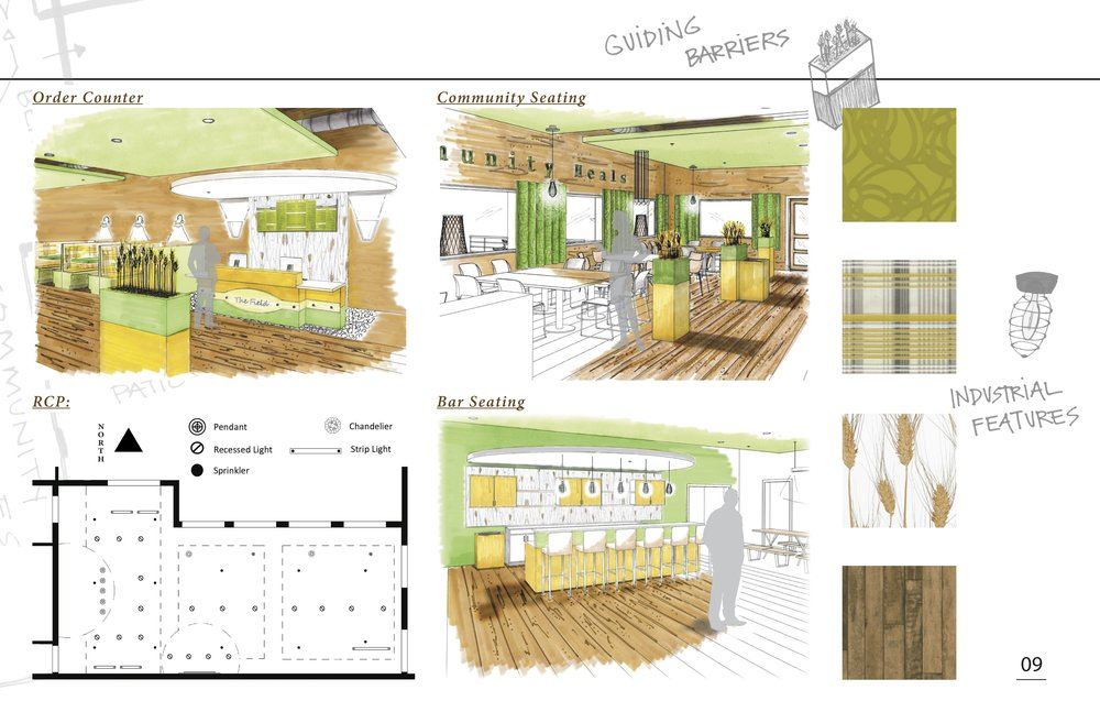 Restaurant design presentation   I was a finalist for a national sherwin williams competition for this color concept!