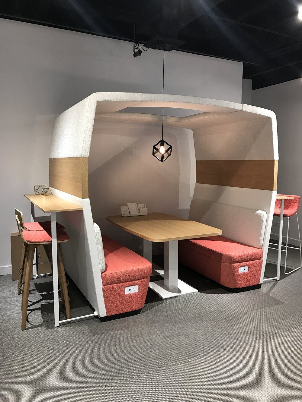 Shopping at  Neocon! PRivacy booth with sound clouds and optional bar height wings