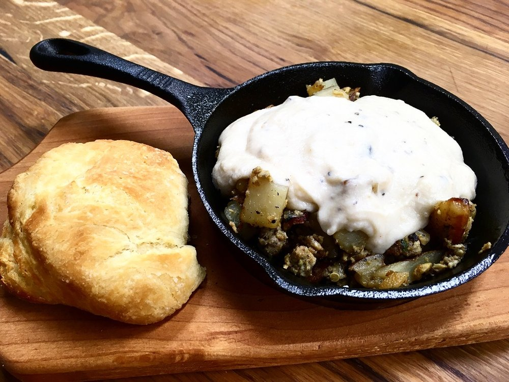 Saturday Breakfast - Every Saturday morning we have delicious breakfast skillets- sausage OR bacon, eggs, potatoes, onions & peppers topped with homemade gravy. (gluten-free available). Served with a homemade angel biscuit & homemade mustang grape jelly.