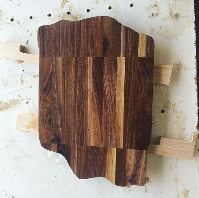 No waste in this shop! Glued up a little cutting board from some walnut cut-offs.