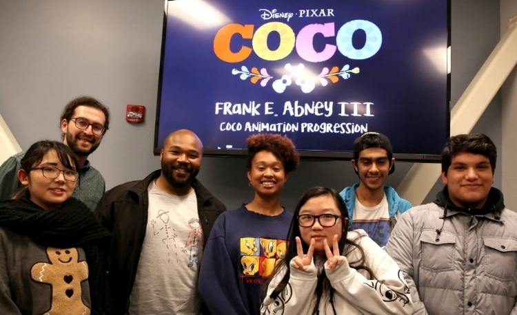 Pixar Animator Frank Abney (3rd from left) during his visit to Youth Beat's animation class.