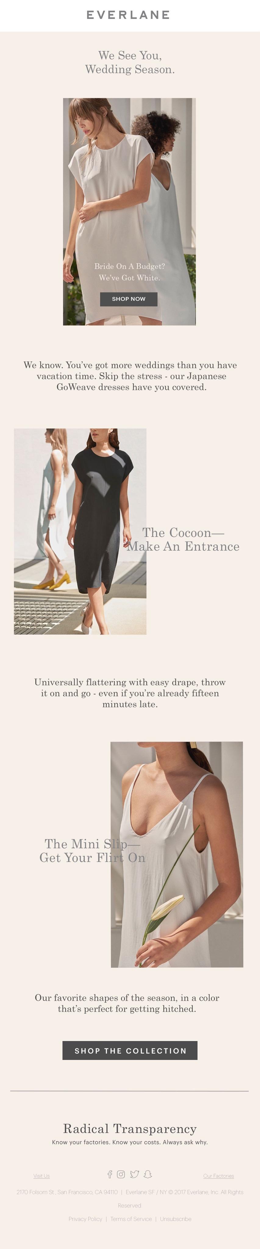 Womens Everlane email marketing blast.