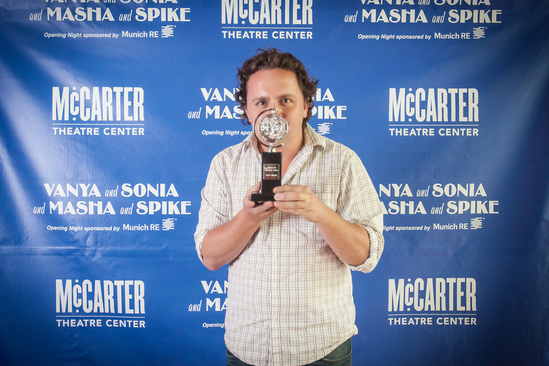 Bill Kirby with McCarter Theatre's Tony Award for Vanya and Sonia and Masha and Spike.