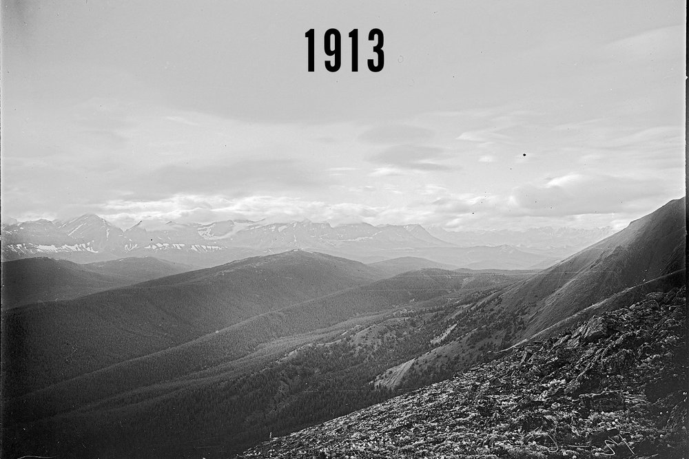 Historical photograph taken on Pasque Mountain in Alberta's southwest Rockies by surveyors in 1913.