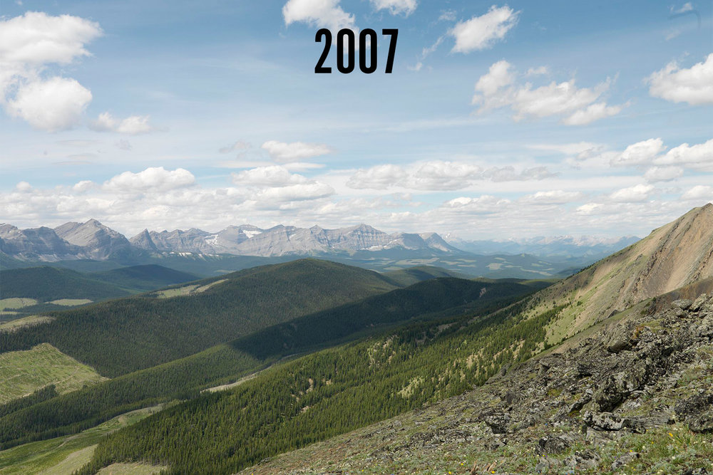 Repeat photograph taken on Pasque Mountain in Alberta's southwest Rockies by Mountain Legacy Project researchers in 2007.