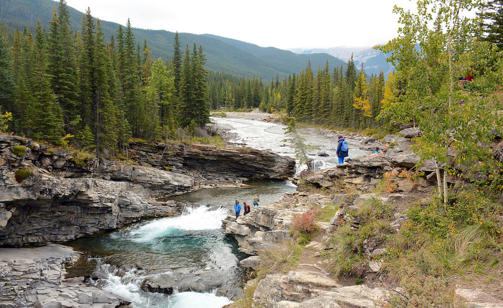 A group exploring Sheep River Falls during the lunch break. Photo by Cameron Naficy.