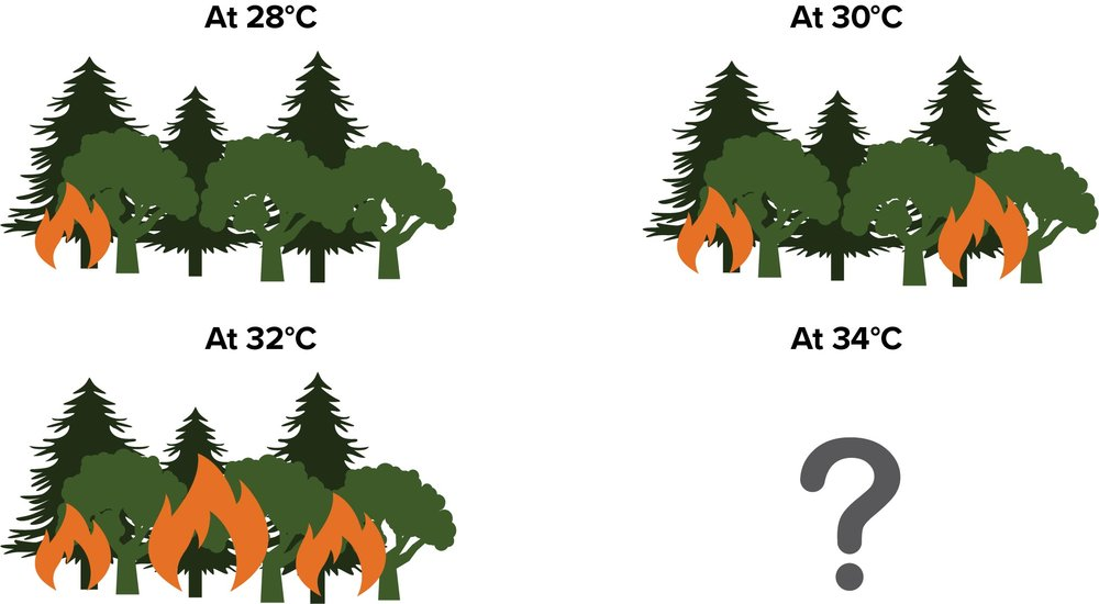 A hypothetical example illustrating how models use existing information (for example, how a forest burns under different climate conditions) to predict the outcome of a new condition.