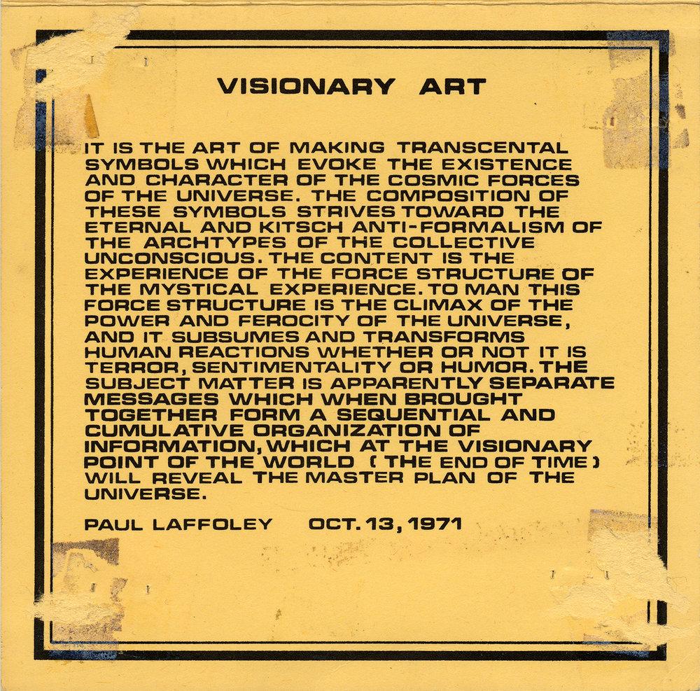 Statement on Visionary Art, 1971