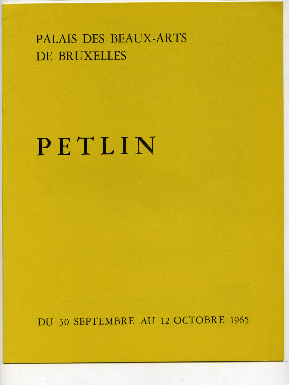 Exhibition at Palais ds Beaux Arts, Bruxelles (1965)