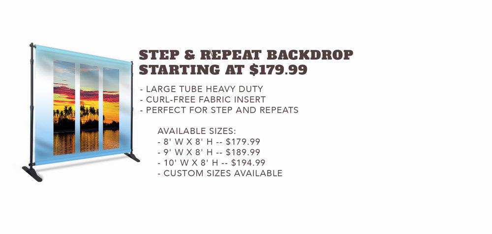 Step & Repeat Backdrop - Starting at $179.99