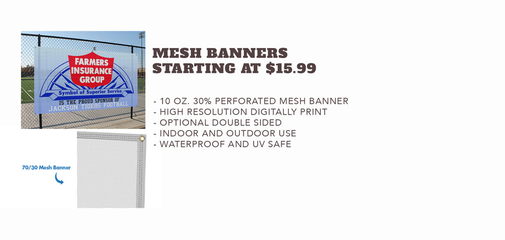 Mesh Banners - Starting at $15.99