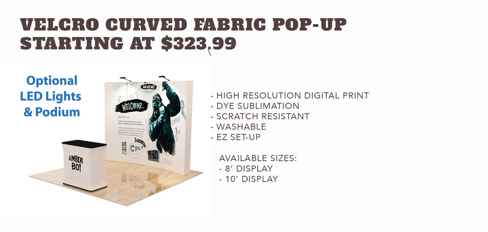 Velcro Curved FabricPop-up Display - Starting at $323.99
