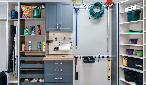 WALL AND BASE CABINETS, PULL-OUT AND ADJUSTABLE SHELVING, AS WELL AS TRACK SYSTEMS ARE AVAILABLE