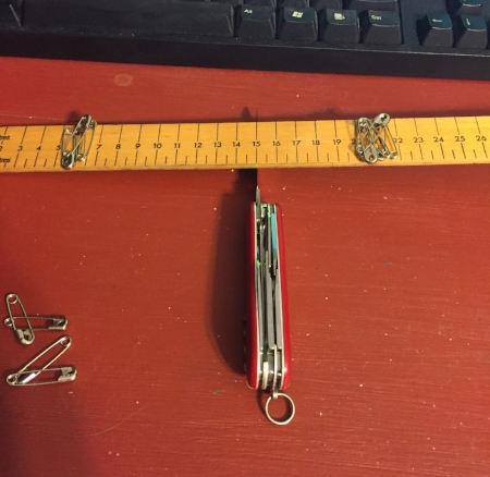 6 safety pins are placed at 21cm, giving k = 36.