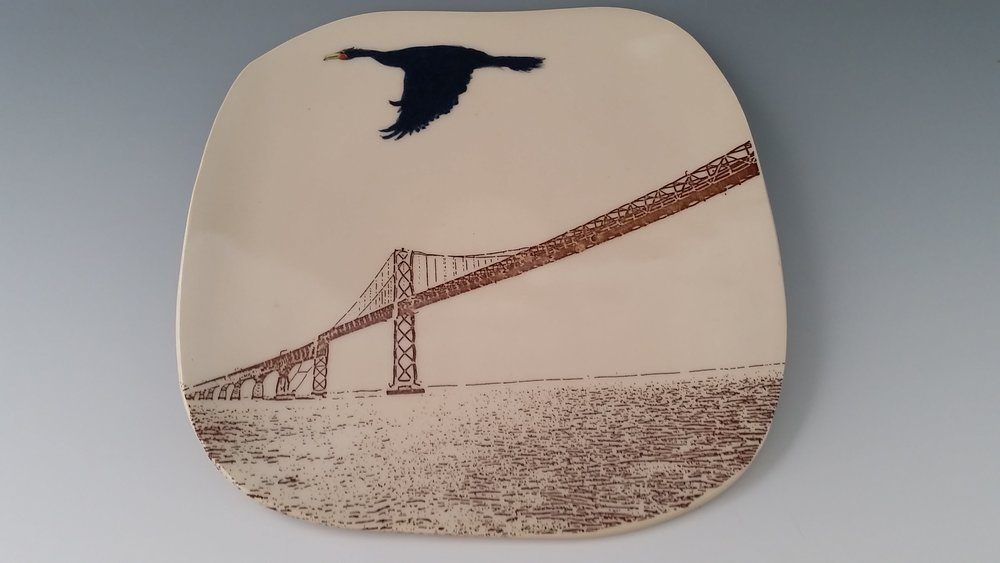 "Cormorant Flying over Chesapeake Bridge, 8"" x 2"""
