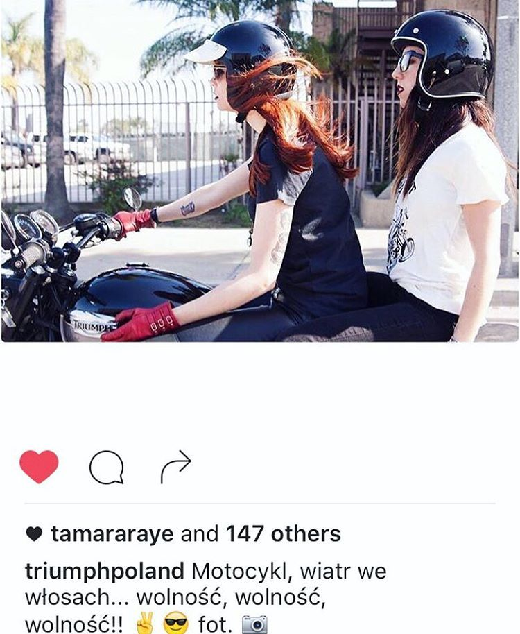 When @triumphpoland #resposts a photo of yours 😍 . Much love to @tamararaye @nevermoore @anyavioletuniverse #motobabes  #triumphmotorcycle #babesrideout #longbeach  (at Vancouver, Washington)