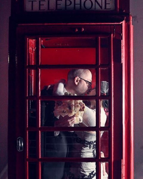 With love in the air telephone booths aren't just for superman anymore | The Smith wedding on the Queen Mary in Longbeach | #nunezweddings