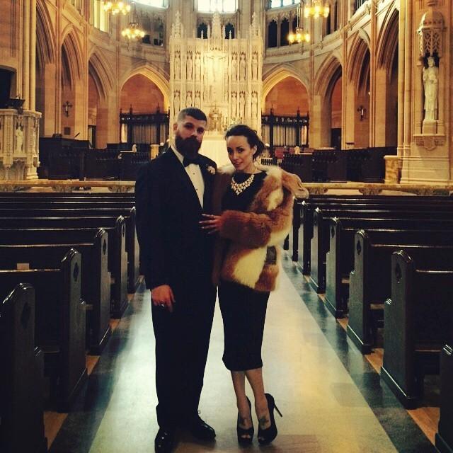 #meriandmatt #SF #wedding dress: @tatyanaboutique jacket: @playclothesvintage hair/mu: @missylowe_muah (at St. Dominic's Catholic Church, San Francisco)