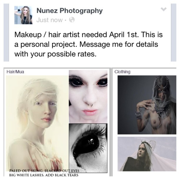 Makeup artist needed. Email me your rates or for details.  Info@nunez-photography.com