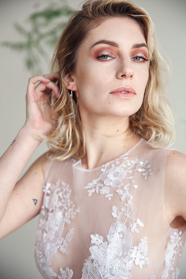 airy wedding dress fashion - a small editorial set of wedding dresses, jewelry and florals for that fashion forward bride