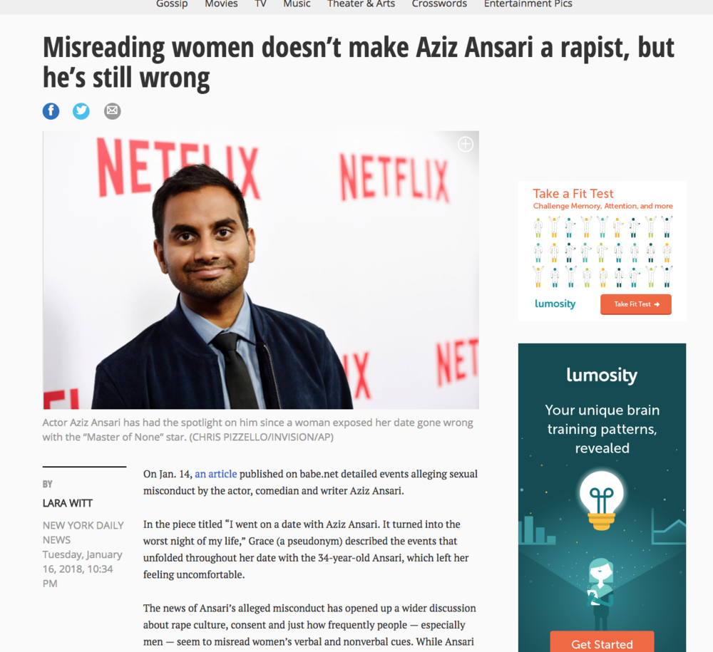 The news of Ansari's alleged misconduct has opened up a wider discussion about rape culture. -  If the idea of asking for enthusiastic consent is an inconvenience to you, then you shouldn't be having sex because you're probably a rapist.