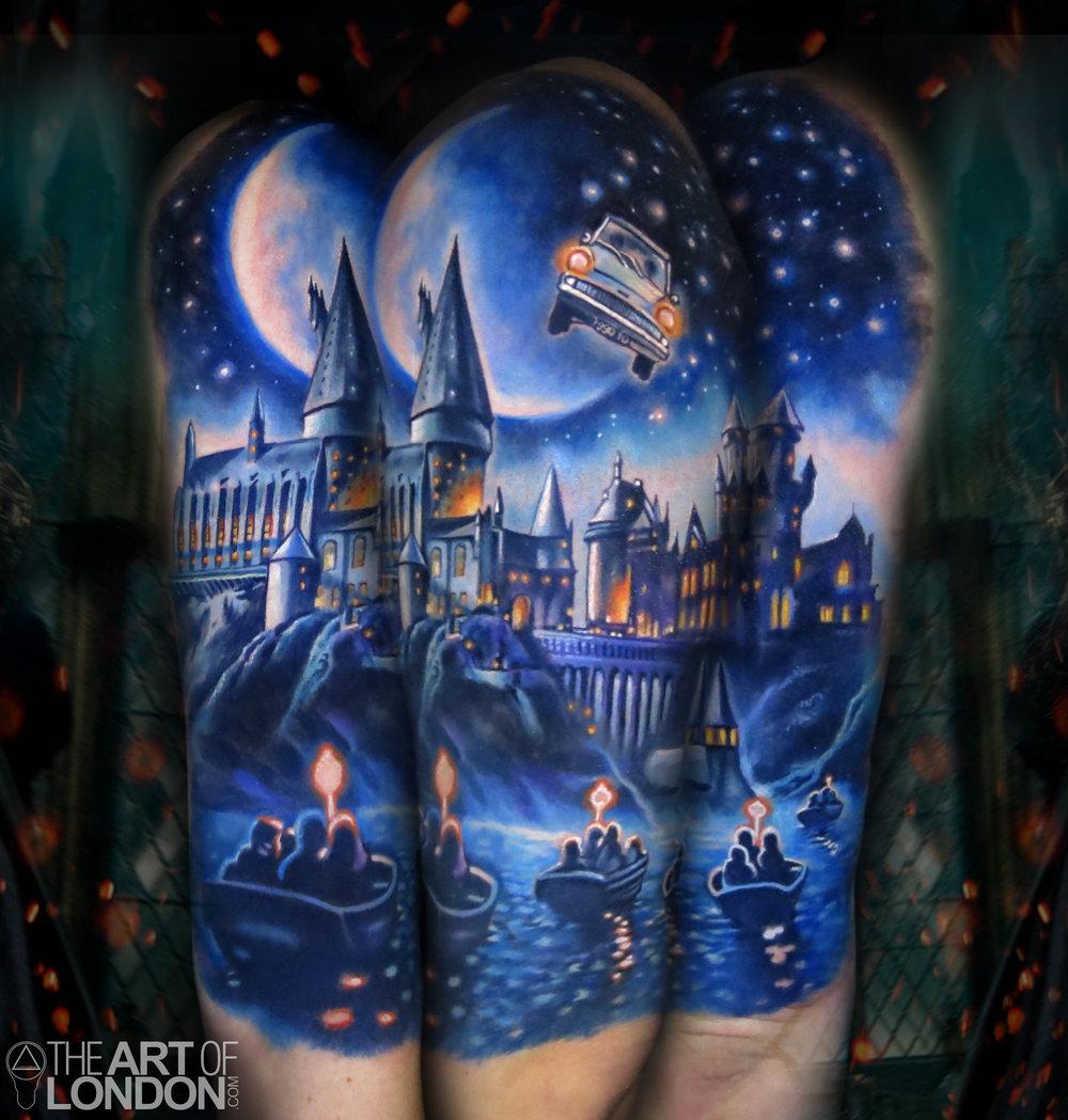 harry potter hogwarts castle tattoo.jpg