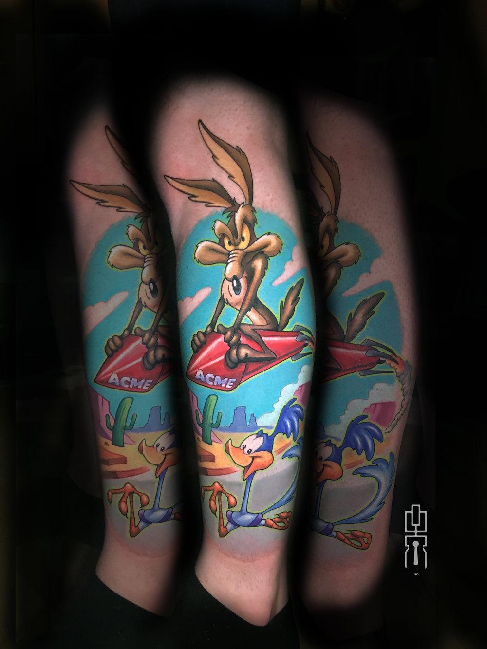 wile e coyote roadrunner looney tunes tattoo.jpg