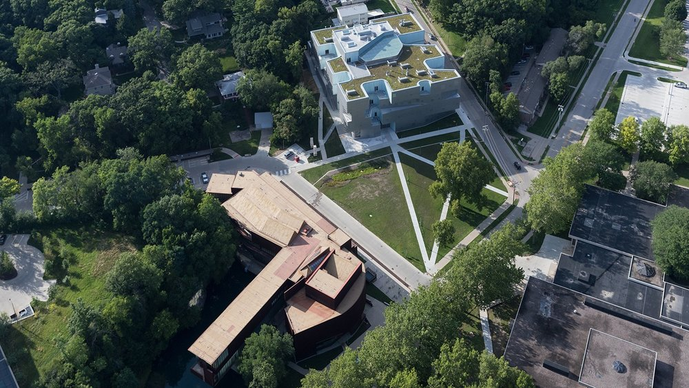 Arial view of Art Building West and Visual Arts Building, Steven Holl and Associates, 2017.