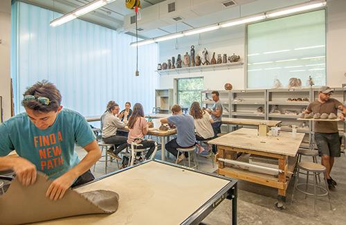 Ceramics handbuilding classroom area, 2016.